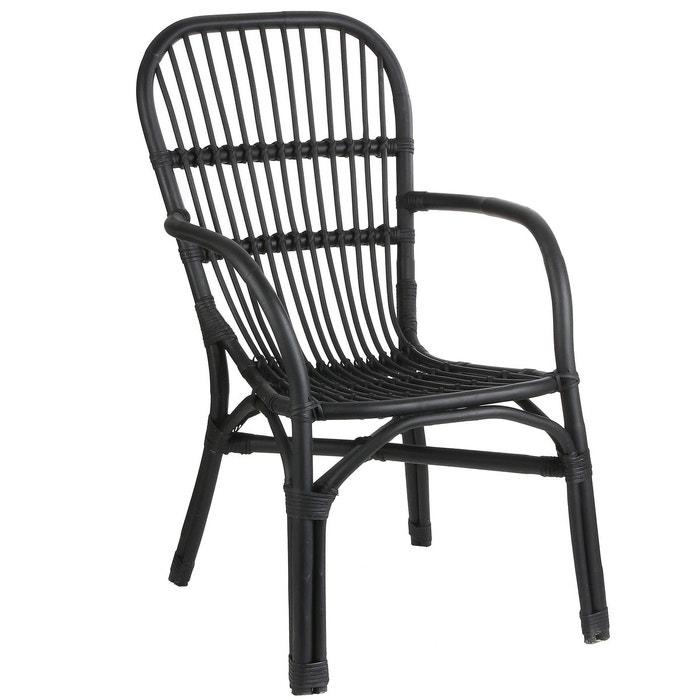 chaise fauteuil en rotin noir noir pier import la redoute