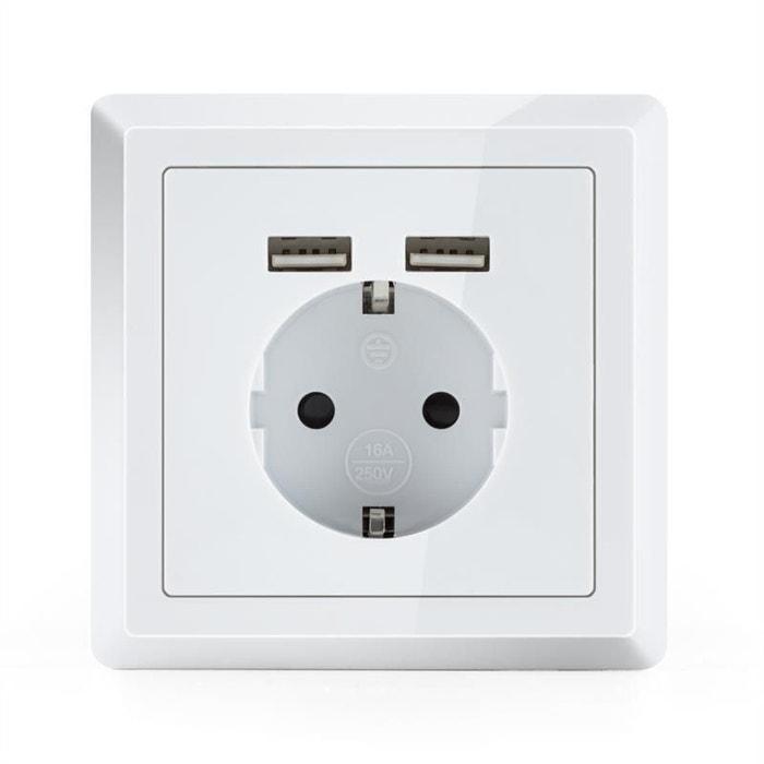 Oneconcept ws 2usb prise lectrique prot g e 2 ports usb - Prise electrique exterieur encastrable ...