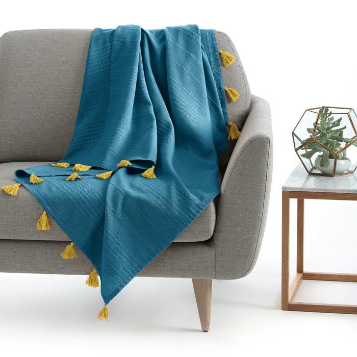 plaid con borlas riad azul n amarillo la redoute interieurs la redoute. Black Bedroom Furniture Sets. Home Design Ideas