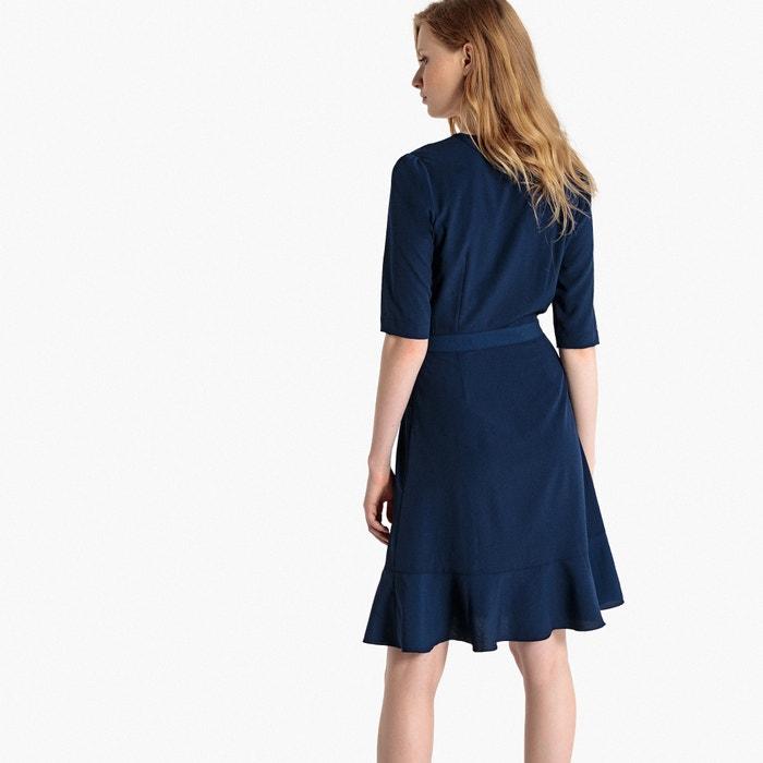 a Collections con bandas Redoute el Vestido tono cruzado contraste La cuello en en Rq6f8wx