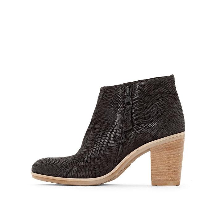 Boots cuir à talon melody noir Mjus