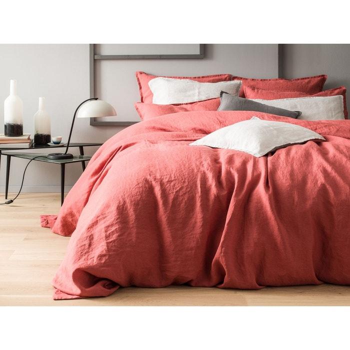housse de couette lin lav uni rouge marsala finition. Black Bedroom Furniture Sets. Home Design Ideas