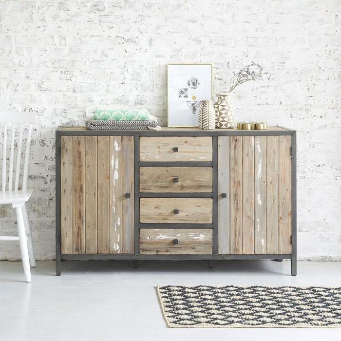 commode en bois de pin recycl et m tal 4 tiroirs 2 portes. Black Bedroom Furniture Sets. Home Design Ideas