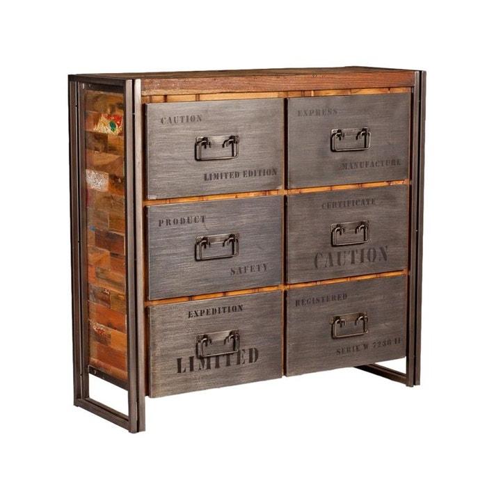 Meuble de rangement commode industriel en bois recyclé et métal 6 tiroirs 112cm caravelle bois ...