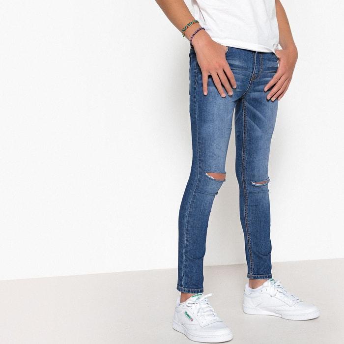 jean skinny trou genoux 10 16 ans stone la redoute collections la redoute. Black Bedroom Furniture Sets. Home Design Ideas