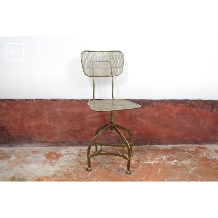 Chaise d 39 atelier en t le perfor e couleur unique produit for Chaise tole