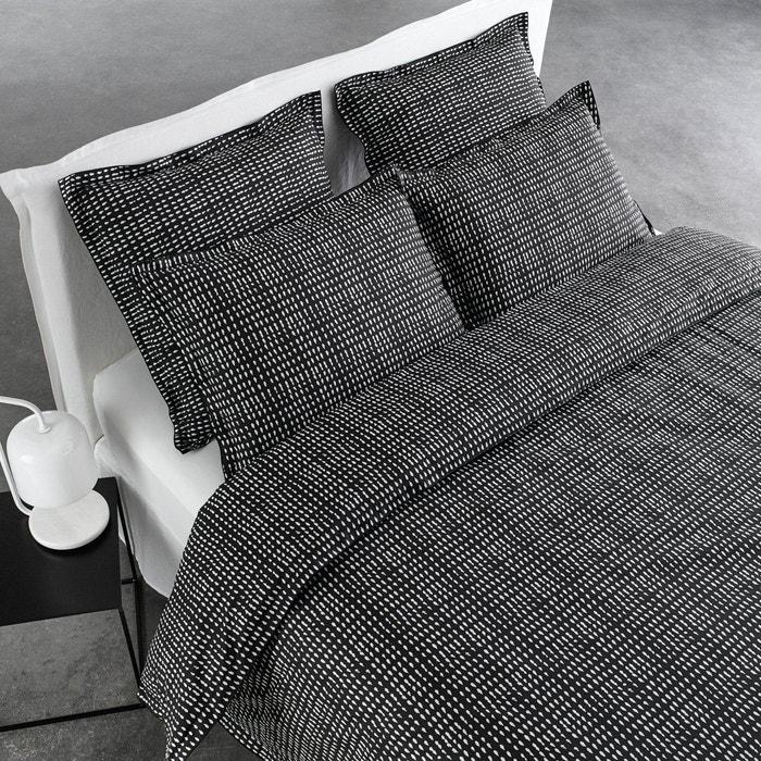 housse de couette en percale dito charbon blanc am pm. Black Bedroom Furniture Sets. Home Design Ideas