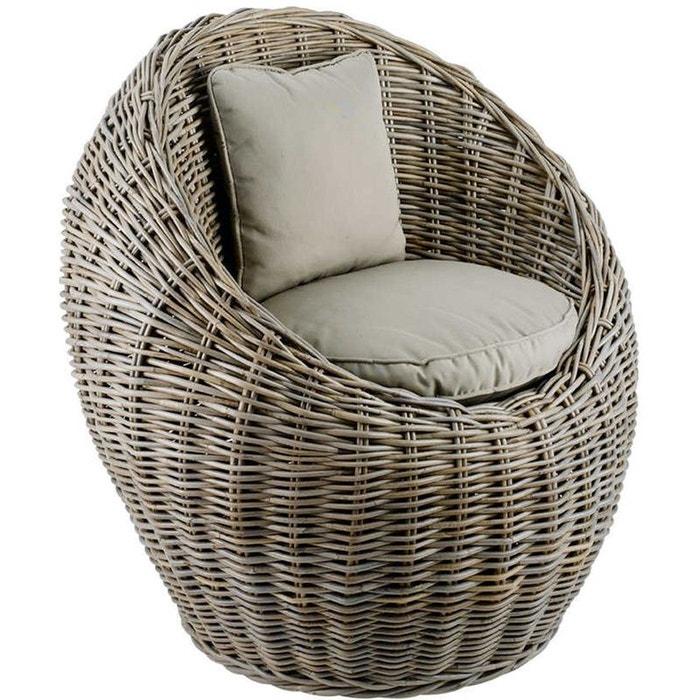 fauteuil boule kubu en rotin de bananier 78x72x78cm beige inwood la redoute. Black Bedroom Furniture Sets. Home Design Ideas