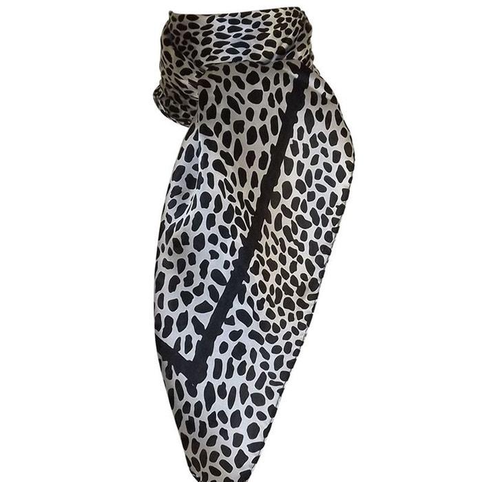 dc5b7af1e54e Grand foulard carré 100% soie léopard noir Chapeau-Tendance   La Redoute