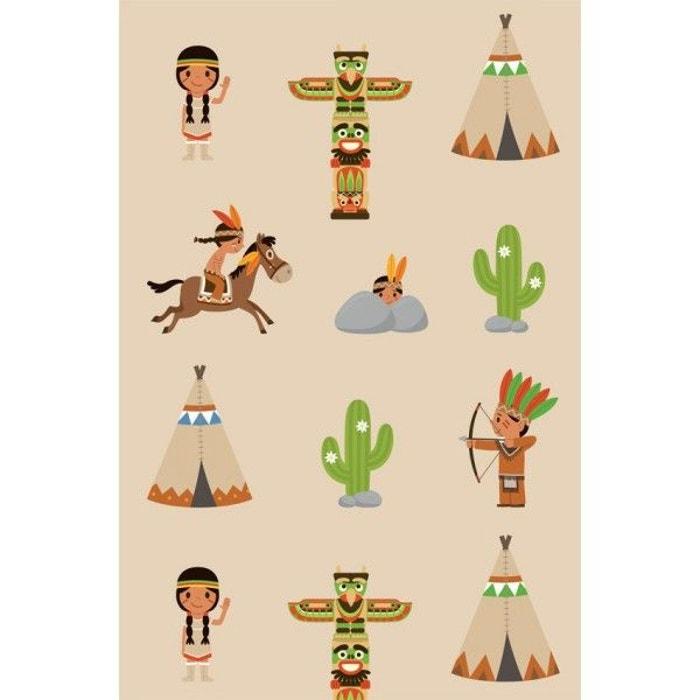 papier peint enfant indiens multicolore decoloopio la redoute. Black Bedroom Furniture Sets. Home Design Ideas