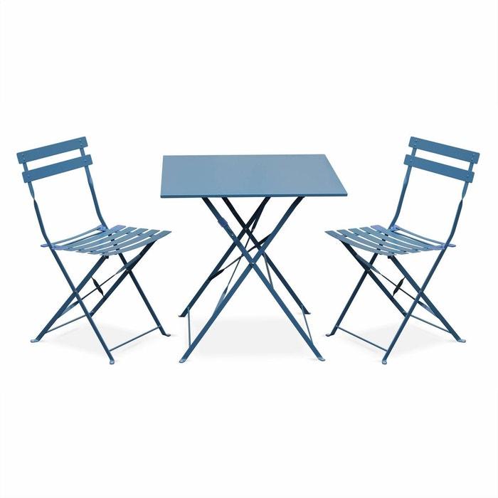 Salon de jardin bistrot pliable Emilia carré avec deux chaises pliantes,  acier thermolaqué