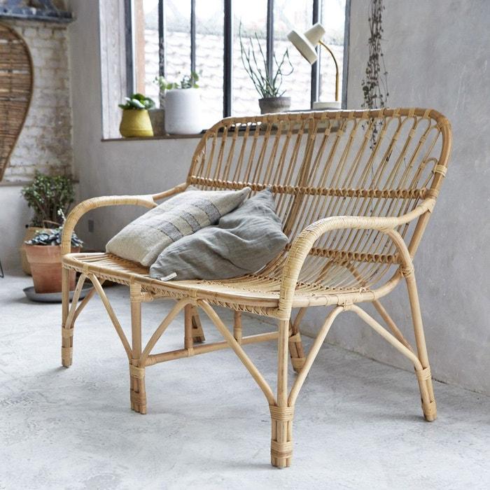 assise double chaise banquette rotin naturel mobilier de salon-séjour TIKAMOON