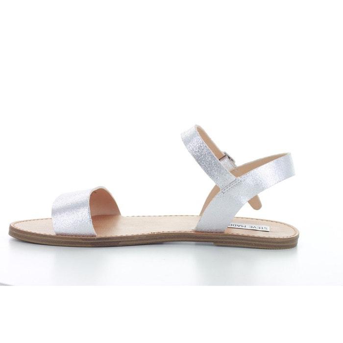 Sandale plate ouverte en cuir argent Steve Madden