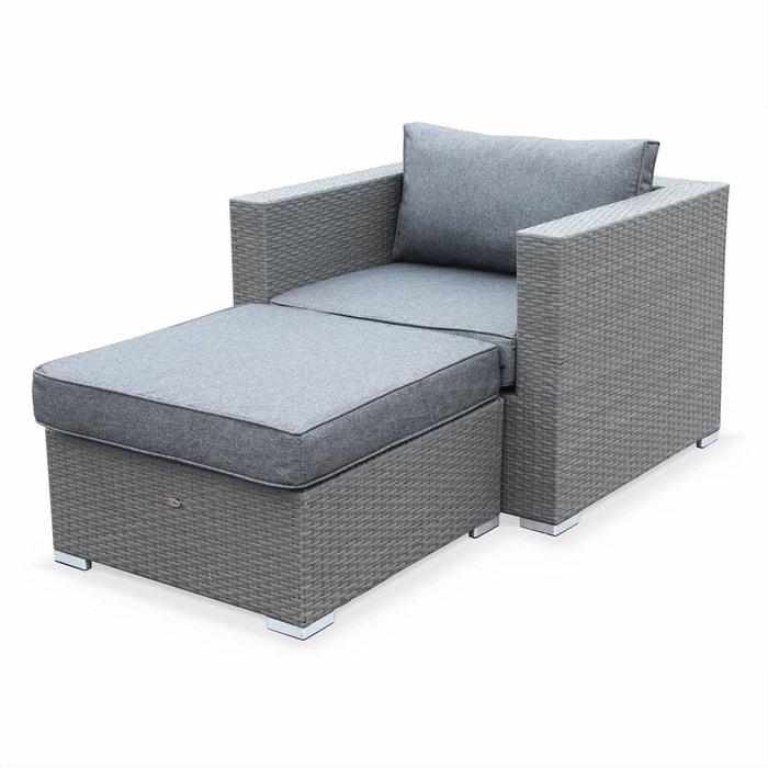 Salon de jardin genova fauteuil pouf en r sine tress e - Salon de jardin resine tressee la redoute ...