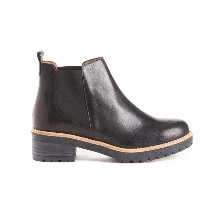 Boots élastiquées en cuir