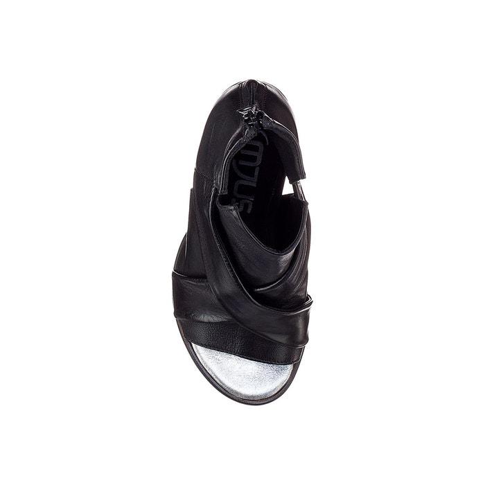 Sandales, talons carrés, cuir ajouré, Santorini - MJUS - Argent/NoirMjus