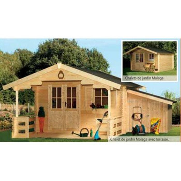 Chalet de jardin bois 340 x 340 cm 11.56 m² malaga couleur unique ...