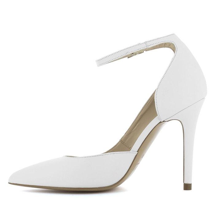 Escarpins femme semi-ouverts blanc Evita