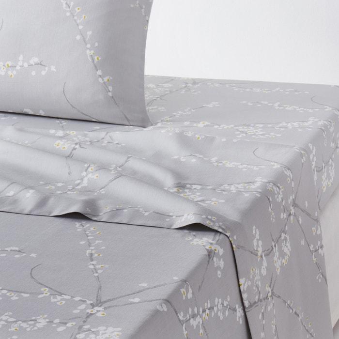 drap plat satin de coton natsumi la redoute interieurs imprim gris blanc la redoute. Black Bedroom Furniture Sets. Home Design Ideas