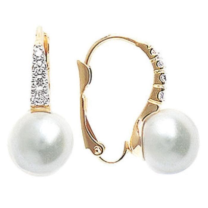 Boucles D Oreilles Dormeuses Bicolore Perle Blanche Plaque Or 750