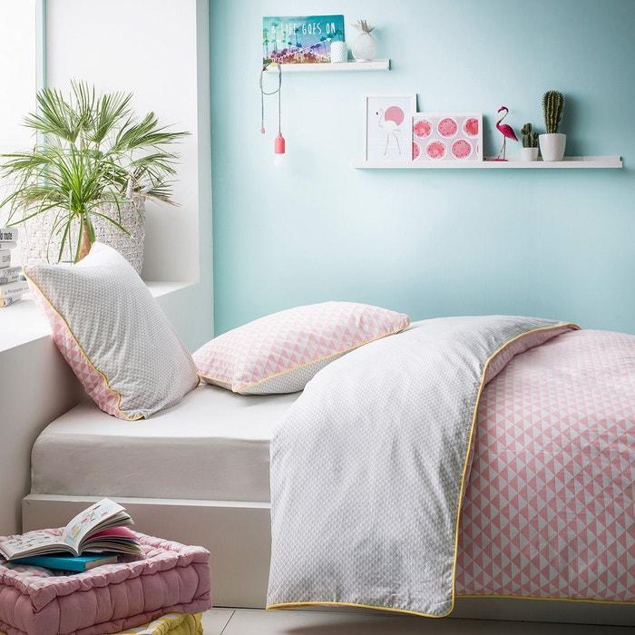 parure de lit zest coton 57 fils rose i fil home la redoute. Black Bedroom Furniture Sets. Home Design Ideas
