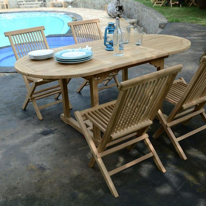 Salon de jardin en teck ecograde hawai, table extensible avec 4 ...