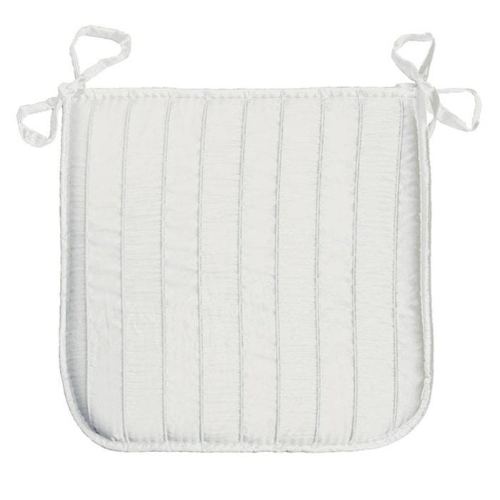Coussin galette de chaise jacquard rayure blanc 40 x 40 cm - Coussin d interieur ...