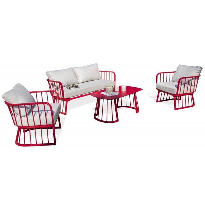 Salon de jardin apolline 4 places en aluminium - framboise framboise ...