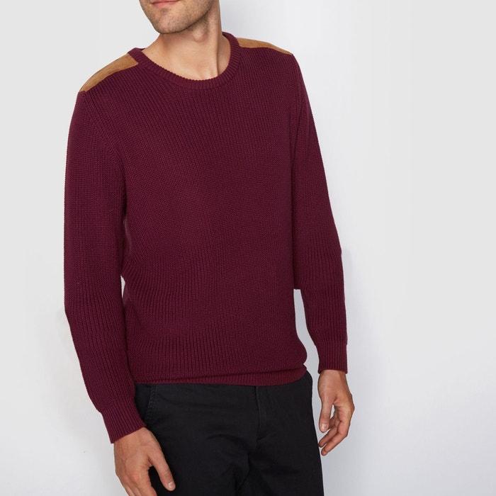 Pull coton, col rond, côtelé, patch épaules La Redoute Collections