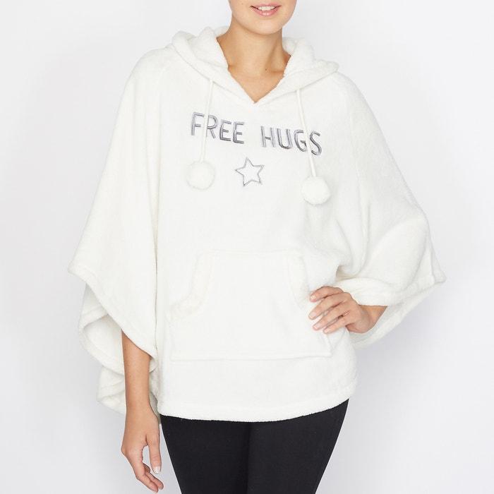 Free Hugs Motif Hooded Fleece Poncho.