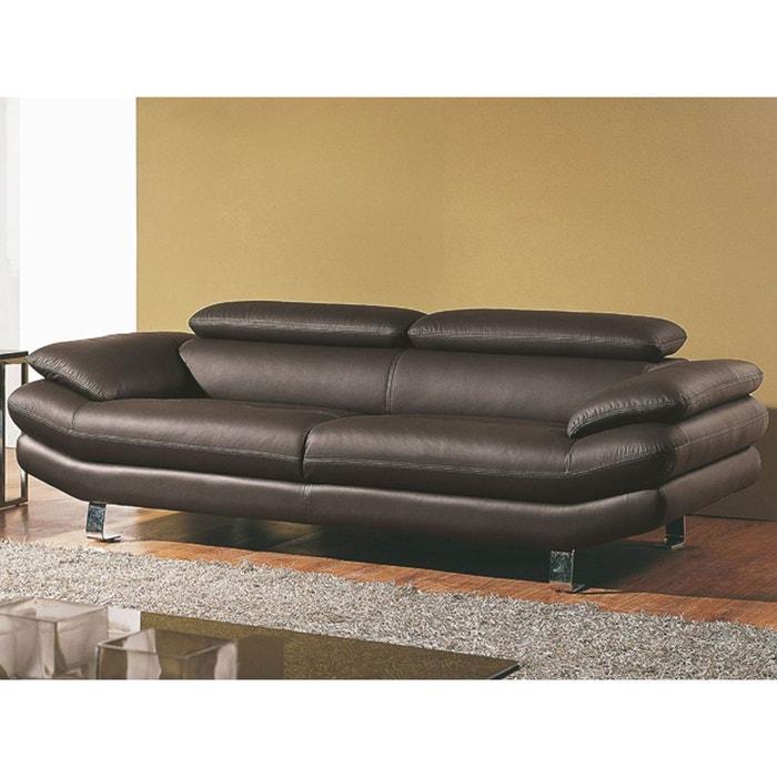 canap cuir 3 places carlton marron la maison du canape. Black Bedroom Furniture Sets. Home Design Ideas
