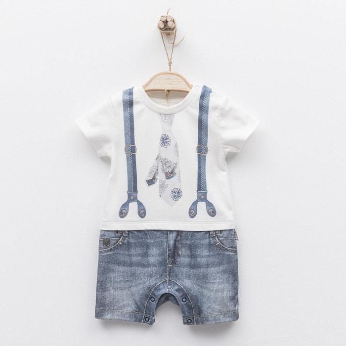c4a93197c92a7 Combishort barboteuse bébé garçon en coton biologique de 1 mois à 18 mois -  impression 3d - gabin blanc Sevira Kids | La Redoute