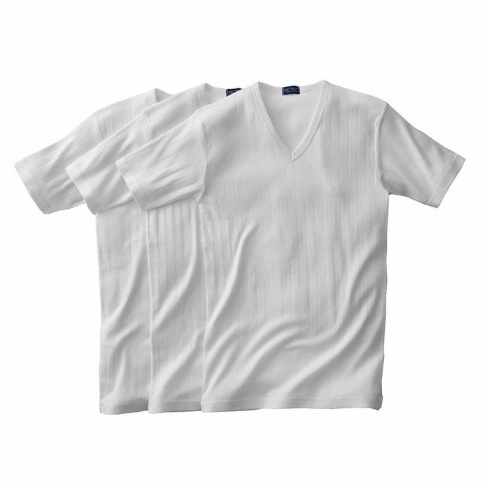 Image T-shirt a coste fantasia con scollo a V (confezione da 3) maniche corte R essentiel