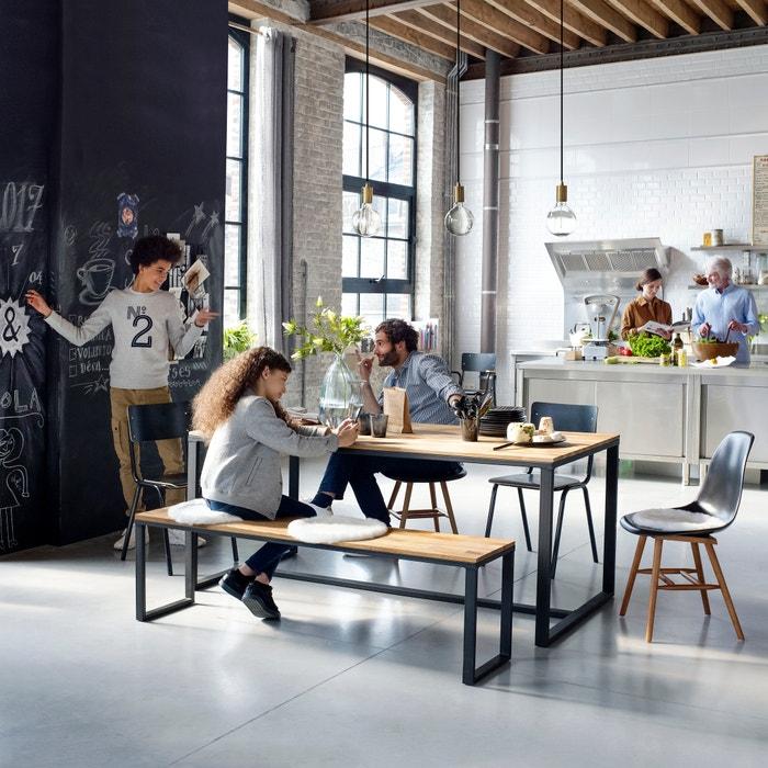 Hiba Oak and Steel Table - 4 People  La Redoute Interieurs image 0