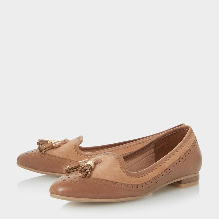 Chaussures à enfiler aspect richelieu avec deux pampilles - gambel fauve cuir Dune London