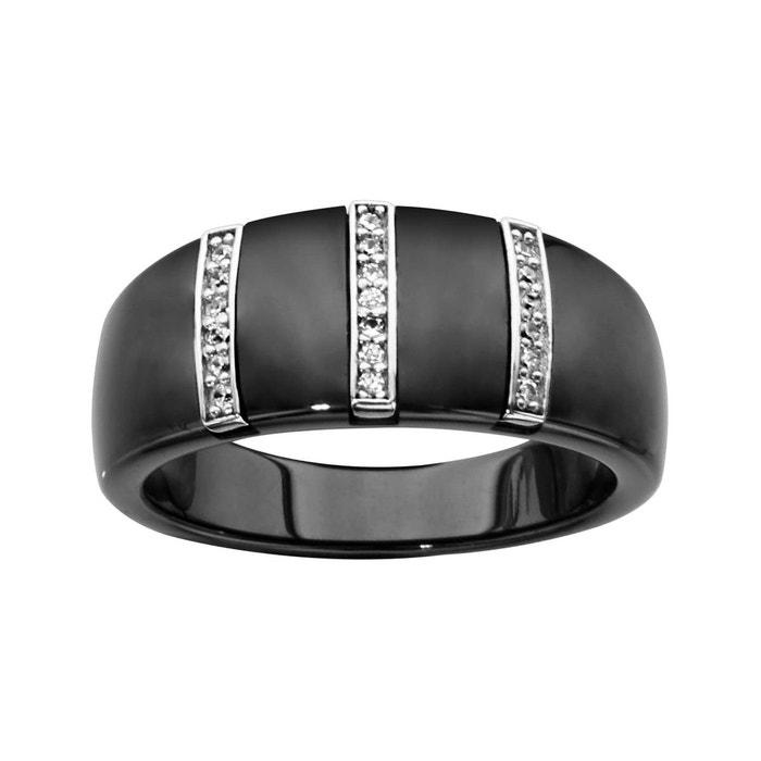 Bague anneau céramique noire 3 barrettes oxyde de zirconium blanc argent 925 couleur unique So Chic Bijoux   La Redoute Achat De Sortie Meilleurs Prix Prix Discount La Fourniture 2kYe5f1sB