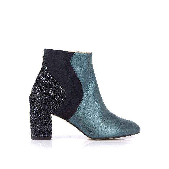 Boots cuir et glitter cecile vert + bleu marine Mellow Yellow