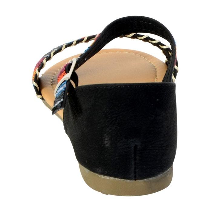 Sandale plate noir noir The Divine Factory