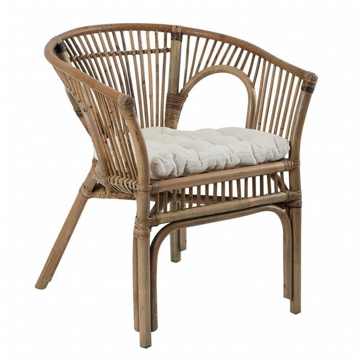fauteuil en rotin avec coussin blanc canada rotin et. Black Bedroom Furniture Sets. Home Design Ideas