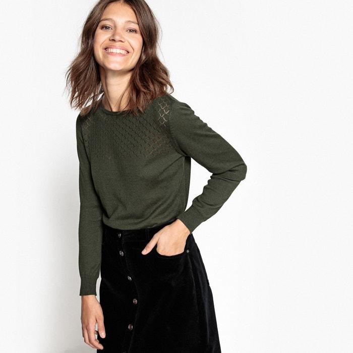 Пуловер из хлопка с ажурным верхом  La Redoute Collections image 0