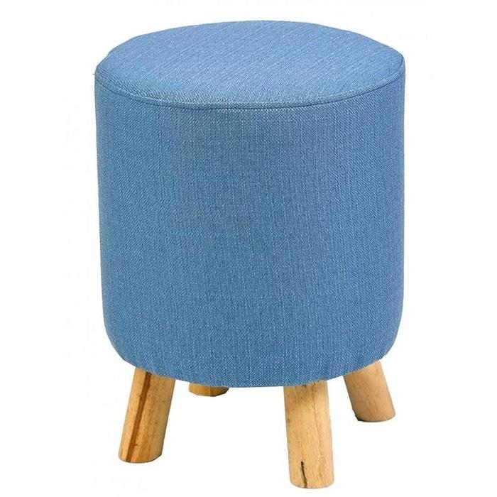 pouf rond en lin bleu sur pied en bois bleu wadiga la. Black Bedroom Furniture Sets. Home Design Ideas
