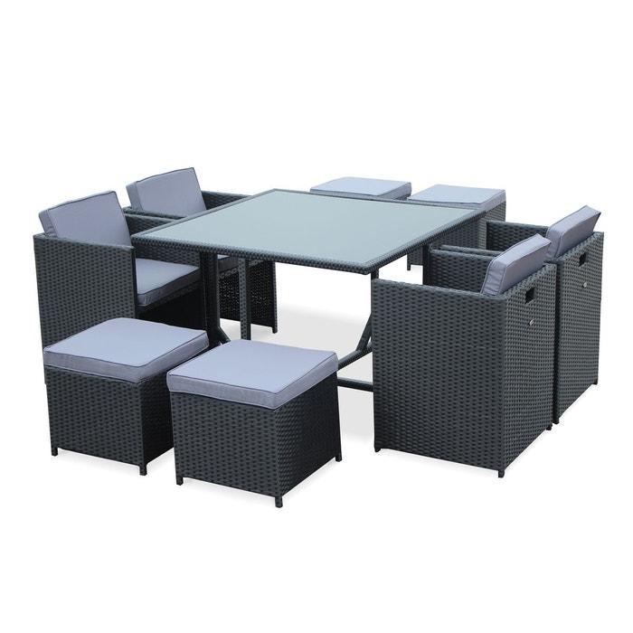 Salon de jardin vasto noir table en r sine tress e 4 8 for La redoute salon jardin