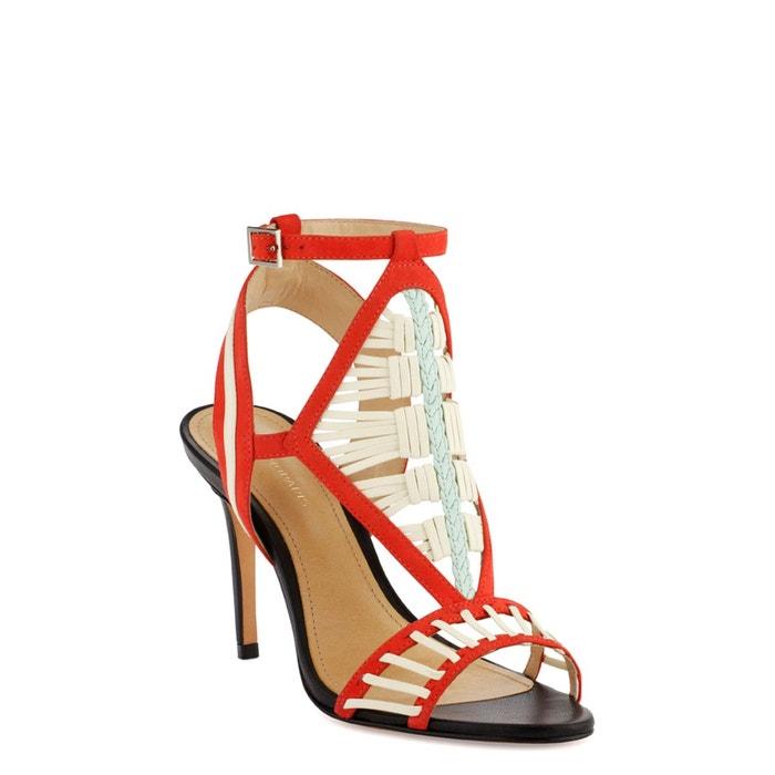 Sandales cuir amili corail/blanc Cosmoparis