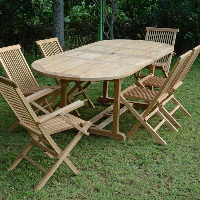 Salon de jardin en teck qualité ecograde castiglione, 6 places ...