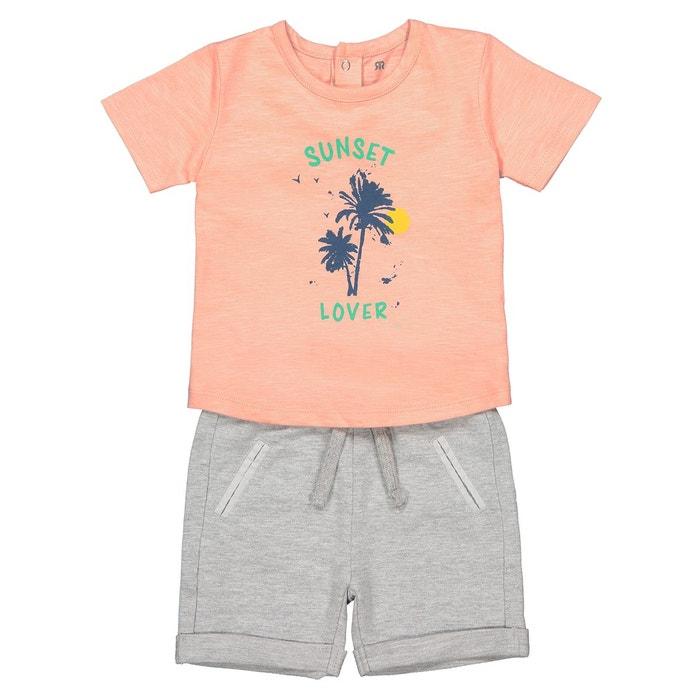 9c223ed829a6c Ensemble 2 pièces t-shirt et short 1 mois-3 ans gris chiné + orange La  Redoute Collections