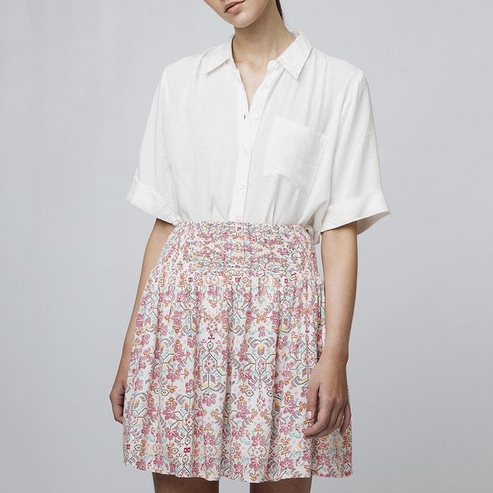 Falda corta evasé con estampado de flores y cintura con smocks crudo rosa  Compania Fantastica  ca98aa6a476b