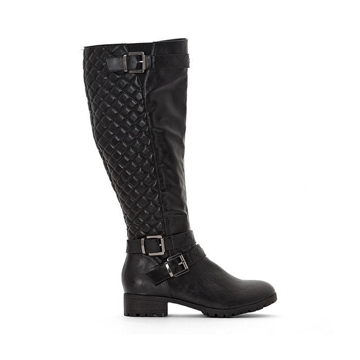 Wide fit knee-high biker boots in faux