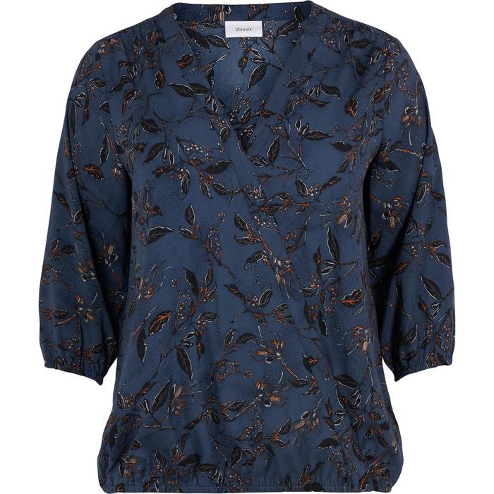 Blusa com decote em V estampada, mangas 3/4  ZIZZI image 0