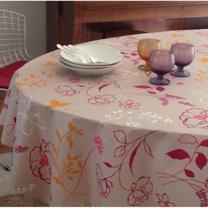 Nappe enduite ronde ou ovale cam lia fuchsia fleur de - Nappe ovale enduite ...