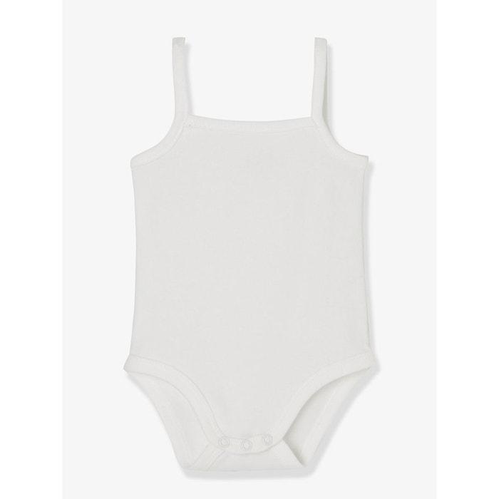 Lot de 3 bodies pur coton fines bretelles bébé blanc Vertbaudet  405fc8a74e3